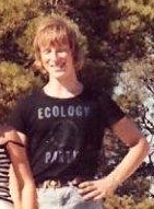 David Taylor wearing possibly the first ever (home-made) Ecology Party T-shirt
